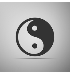Yin yang symbol icon on grey background vector
