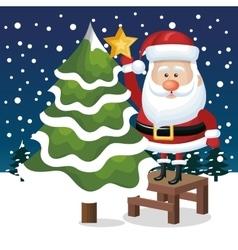 card santa claus tree star snowfall graphic vector image