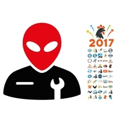Alien Mechanic Icon with 2017 Year Bonus vector image