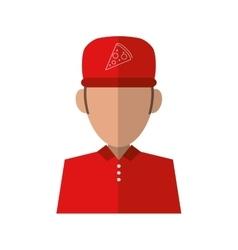 Portrait delivery pizza boy red uniform cap vector