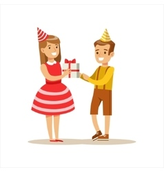 Boy giving present to girl kids birthday party vector