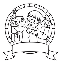 Coloring book of funny chemist emblem vector