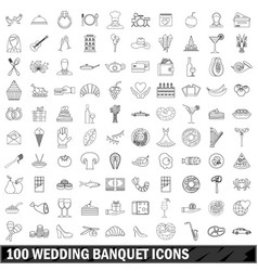 100 wedding banquet icons set outline style vector