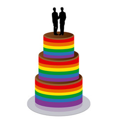 wedding cake with two gay men vector image