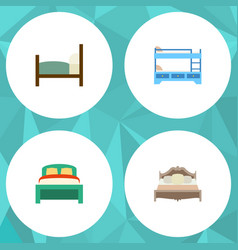 flat mattress set of bunk bed furniture bed and vector image