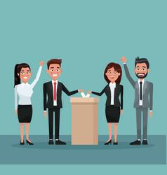 Background scene set people in formal suit vote in vector