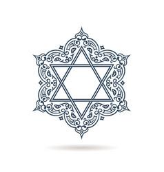 Star of david jewish ornament blue icon vector