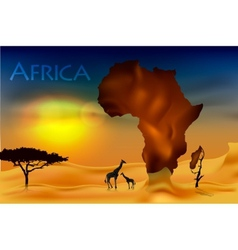 Africa savannah fauna and flora vector
