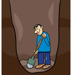 Digging man cartoon vector
