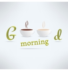 Good morning coffee background with cups vector