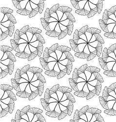 Gingko leaf circle seamless pattern white vector