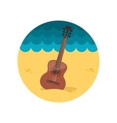 Guitar beach flat icon vector