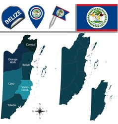 Belize map with named divisions vector image