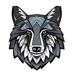color Wolf head vector image