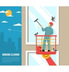 Window washer at work flat vector
