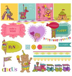 Scrapbook design elements - birthday party child s vector