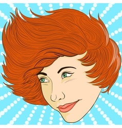 Smiling girl face in retro style vector