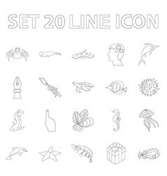 A variety of marine animals outline icons in set vector