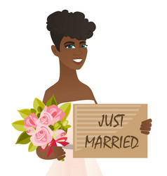 African bride holding plate with text just married vector