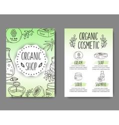 Brochure with cosmetic bottles organic cosmetics vector