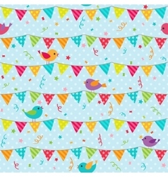 Bunting with sitting birds vector image vector image