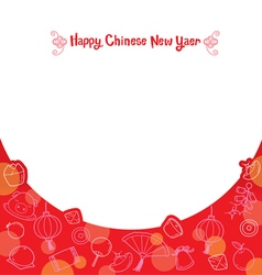 Chinese new year frame with outline icons vector