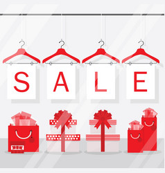 clothing hangers sale signage and banners window vector image