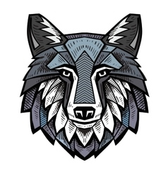 color Wolf head vector image