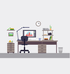 Colorful designer workspace concept vector