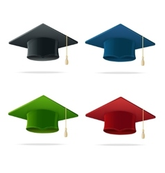 Colorful Student Hat Set Graduated vector image vector image