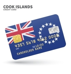 Credit card with cook islands flag background for vector