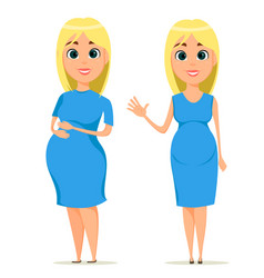 Cute pregnant woman in blue dress beautiful blond vector