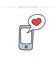 Doodle icon cellphone with love message vector