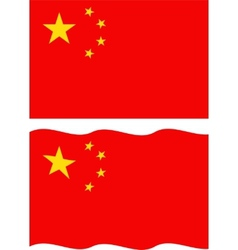 Flat and waving chinese flag vector