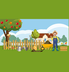 Gardener homestead icons set cartoon style vector
