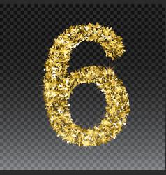 Gold glittering number six shining golden vector