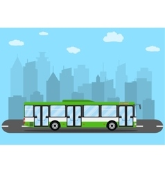 Green city bus in front of city silhouette vector