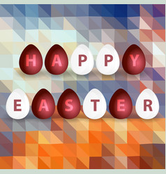 happy easter from red and white egg abstract vector image