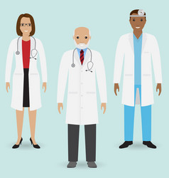 hospital staff concept group of old doctor and vector image vector image