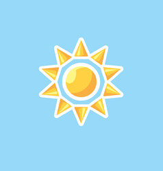 Icon in style linework sun on blue sky vector