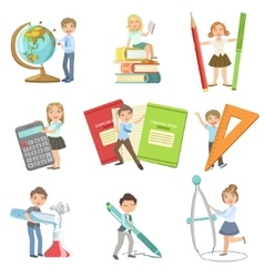 Kids with giant school attributes vector