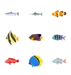 Marine fish icons set cartoon style vector image