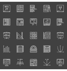 Mathematics line icons vector