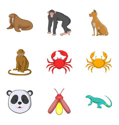 monkey icons set cartoon style vector image vector image