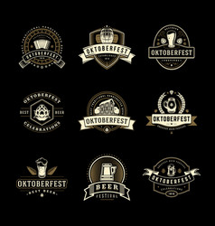 Oktoberfest labels badges and logos set beer vector