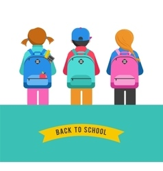 Poster with students kids backpacks vector image vector image