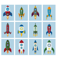 Retro space rocket ship icon set in a flat vector