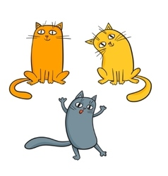 set of cute cartoon cats in various poses vector image vector image
