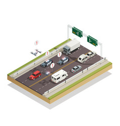 Smart city traffic isometric composition vector