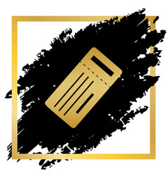 Ticket simple sign golden icon at black vector
